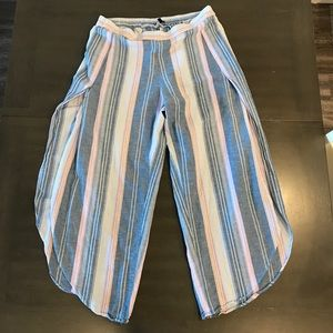 DREW Wide Split Leg Linen Blend Pants